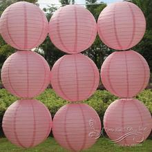 Free shipping 10pcs/lot 12'' 30cm Round paper lantern Peach pink paper lanterns lamps festival wedding decoration party lantern(China)