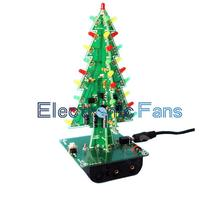 1Set 3D Christmas Tree LED DIY Kit Red/Green/Yellow LED Flash Circuit Kit Electronic Fun Suite Christmas Gift Fee Shipping