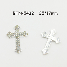 BTN-5432 Free shipping 10PCS/Lot 25*17mm flatback cross crystal rhinestone button for DIY craft scrapbook
