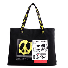 New Cartoon Printed Shopping Canvas Tote Bag Woman Rock Handbag Fashion Portable Big Capacity Letter Student Book Bag