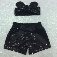 Baby Girl Black Sparkle Sequin SHORTS and matching glitter Adjustable Headband.Girls birthday outfit Baby Girl sequin short