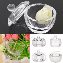 Unique Clear Nail Art Acrylic Crystal Glass Dappen Dish Liquid Powder Container -B118