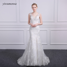 Buy yiwumensa Vintage Ivory wedding dresses Custom mermaid robe de mariee wedding dress 2017 White Appliques Bridal gowns casamento for $149.25 in AliExpress store