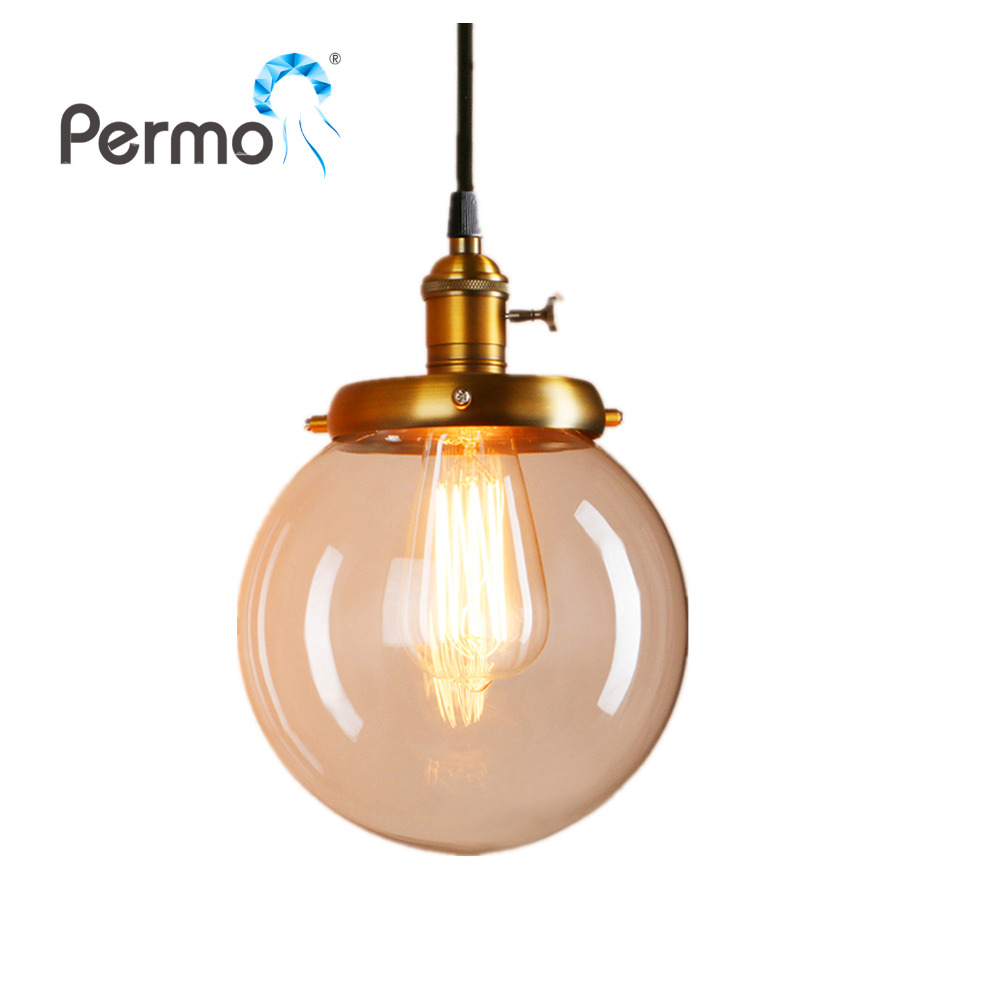 PERMO 7.9 Glass Globe Pendant Lights Retro Pendant Ceiling Lamps Modern Hanglamp Luminaire Lights Fixture<br>