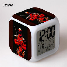 YNYNOO Deadpool 7 Colorful gradients digital alarm clock toy 2016 New LED electronic action figure toys for kids home decoration