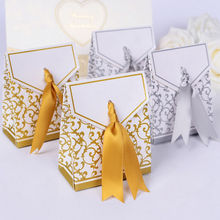 Creative Ribbon Wedding Favours Party Gift Candy Paper Box Cookie Candy gift bags Event Party Supplies Golden Silver 10pcs