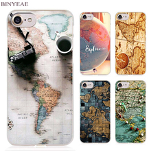 BINYEAE World Map Travel Plans Clear Cell Phone Case Cover for Apple iPhone 4 4s 5 5s SE 5c 6 6s 7 7s Plus