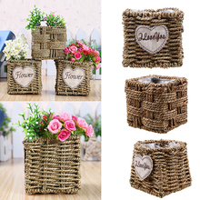 Weaving Storage Basket Woven Rattan Flower Pot Planter Cosmetics Tea Picnic Container Food Fruit Wicker Laundry Basket Organizer(China)