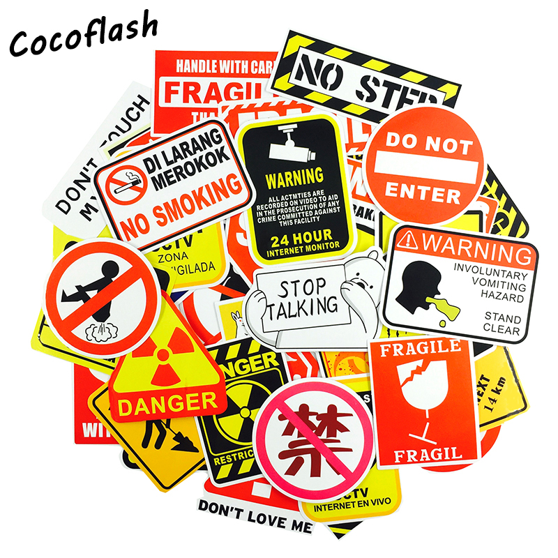 50pcs/lot Fashion Warning No Smoking Black and Red Stickers for Laptop Luggage Bags Toy Waterproof sunscreen decals
