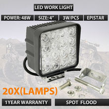 Wholesale 20pcs/lots 12V 24V Square 48W LED Work Lights LED Headlamps 4WD UTE OFF ROAD For Truck Boat Camping DHL Free shipping