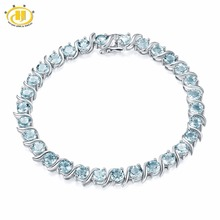 Hutang 15.12Ct Natural Gemstone Aquamarine Bracelet Solid 925 Sterling Silver S Tennis Bracelets for women Luxury Fine Jewelry(China)