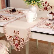 European Pastoral Embroidery Tablecloth Table Runner Elegance Chair Yarn Christmas Festival Wedding Party Dinning Table Decor(China)