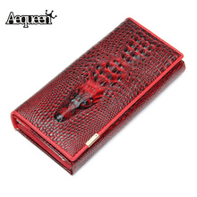 AEQUEEN 3D Crocodile Grain Leather Women Wallets Embossed Alligator Long Wallet Lady Coin Purse Female Clutch Purses Carteira