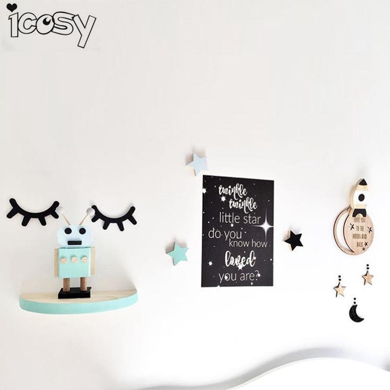 HTB1JK.gb6gy uJjSZPxq6ynNpXaO - 3D Wood Eyelash Wall Decor For Kids Rooms