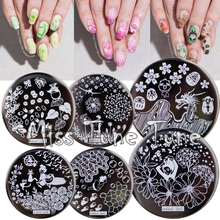 12pcs/Set NEW Nail Stamping Plates Template Japanese Animation Flower Garden Pattern Image Small Size Round