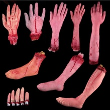 Broken Finger Hand Foot Blood Horror Halloween Decoration Severed Bloody Limbs Hand Novelty Dead Broken Hand Gadgets LS769