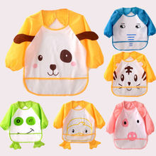 kids bib Apron Toddler Animal Kid Feeding Art & Craft Clothes Long Sleeve Bib Smock Aprons