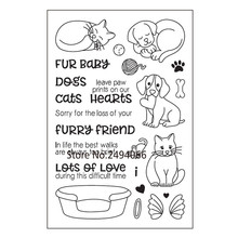 FUR BaBy DOGS Cats Lots of Love Scrapbook DIY photo cards rubber stamp clear stamp transparent stamp 10x15cm AP791405