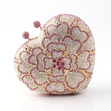 Elegant Bags for Women Heart Shaped Crystal Clutch Designer Inspired Handbag Rhinestone Crystal Small Evening Purse for Wedding(China)