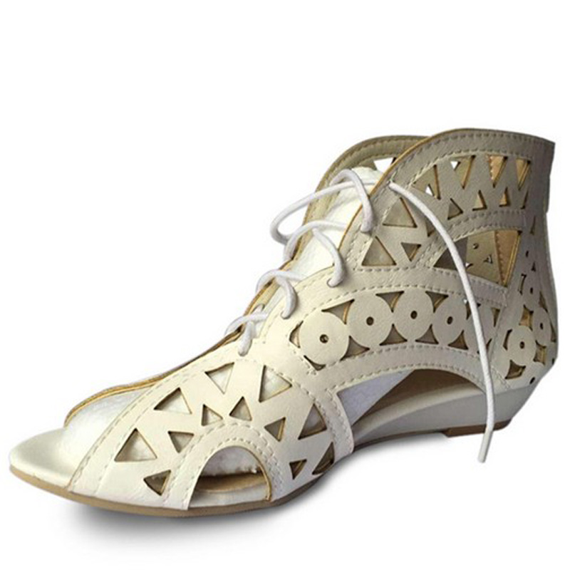 Hot Sale Fretwork Open Toe Lace Up Women Gladiator Sandals Fashion Cut-outs Low Heeled Wedge Sandals For Women Plus Size 34-43<br><br>Aliexpress