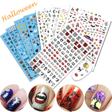 Halloween Party 3D Stencils Nail Sticker Black/Orange Pumpkin Ghosts Skulls Owls Decals Manicure Nail Art Cool Decor CHF251-260(China)