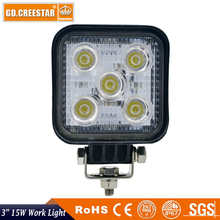 3inch Square 15W led work light 3x3 5leds 12V 24V Mini Led tractor lights used for Mining Car Truck ATV Forklift boat lamps x1pc