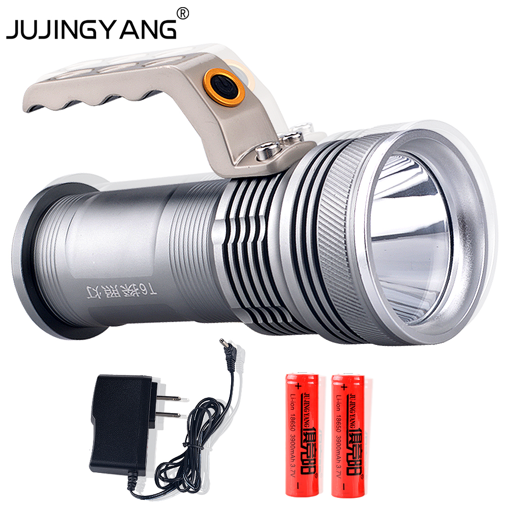 JUJINGYANG T6 longe range waterproof outdoor LED searchlight 10 w lithium miners lamp electric flashlight<br>