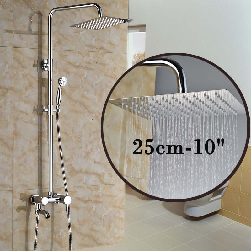 Polished Chrome Wall Mount Single Handle Bath Shower Faucet with Handshower + Swivel Tub Spout<br><br>Aliexpress