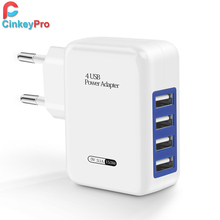CinkeyPro 4-Port Universal Wall USB Charger Adapter For Mobile Phone Charger Device 5V3A Fast Charging for iPhone Xiaomi Tablet