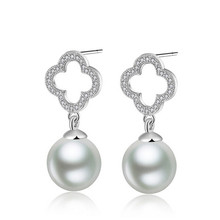 Crystal From Swarovski Four Leaf Clover Dangle Earrings Prevent Allergy Simulated Pearl Spherical Jewelry For Women