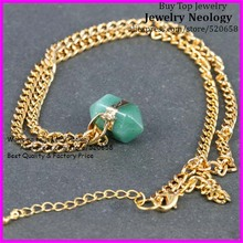 Newest! 5pcs/lot Fashion charm green Aventurine Quartz stone Crystal Necklace Gold color Chain necklace jewelry(China)