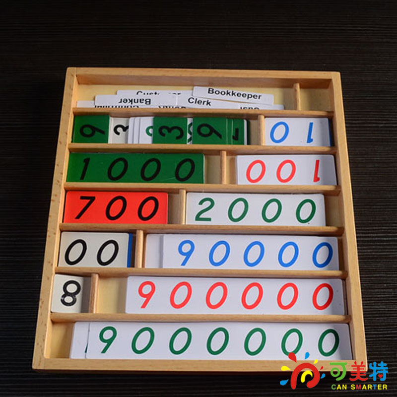Montessori Education Bank Game Numbers Counting  Calculating Paper  Beech Wood  Math toys Early educational toys Can Smarter<br>