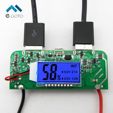 Dual USB 5V 2.1A 1A Mobile Power Bank Charger PCB Board Boost Step up Power Module LED Screen Display for 18650 Battery DIY 65*2