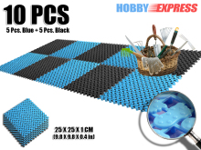 New 1 pack Black and Blue Anti Slip Foot Indoor/Outdoor Plastic Flooring Mat Tiles Prints Pattern  25 x 25 cm KK1128