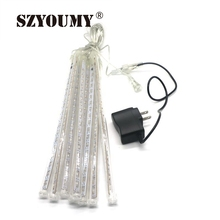 SZYOUMY 10W LED Meteor Shower Rain Lights Drop Snow Falling Raindrop Cascading Lights For Wedding Party Christmas(50cm Tube)