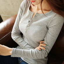 Sexy Button-open Collar Knitted Pullovers Women Slim Solid Color Long Sleeve Sweaters 4 Color Fall Winter Basic Tops Plus Size