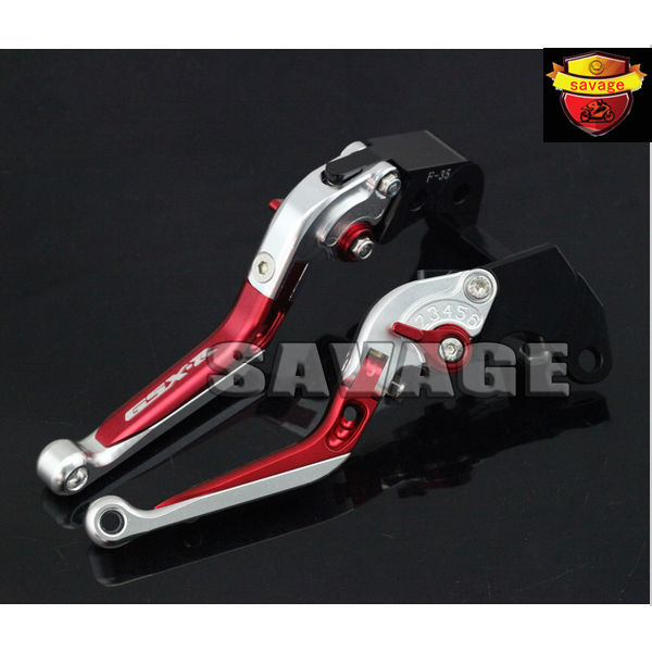 For SUZUKI GSXR 600/750 2004-2005 Red&amp;Silver Motorcycle CNC Aluminum Folding Extendable Brake Clutch Levers logo GSX-R<br>