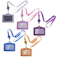 5 Pcs PU Leather Business ID Badge Card Holder with 5 Pcs Retractable Lanyard Neck Strap Band(China)