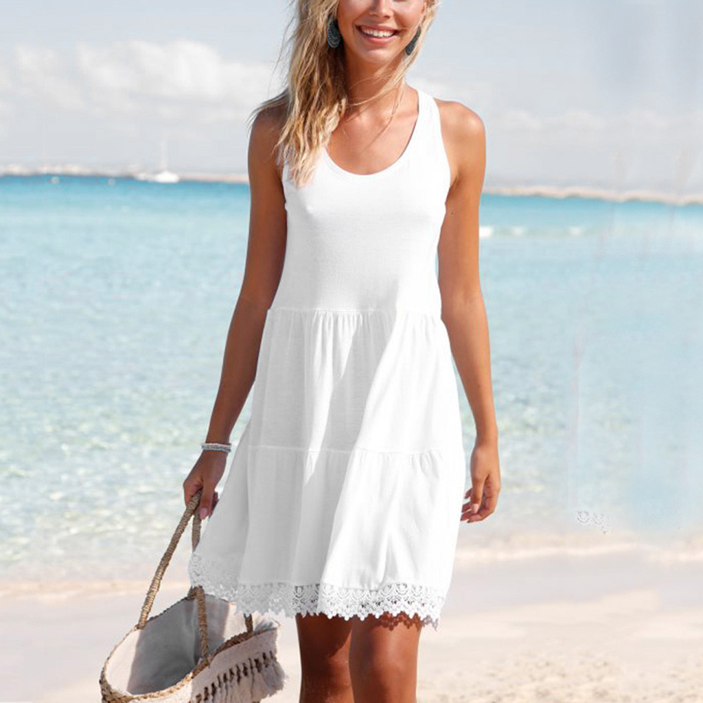 Women Swimsuit Dress Pareo-Cover Tassels Beach-Wear Chiffon Summer Lace Ups New Solid title=