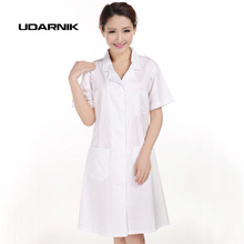 Ladys White Short Sleeve Lab Coat Doctors Surgeon Scientist Outfit Fancy Dress Costume Warehouse Long Jacket 903-227
