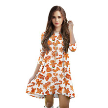 2017 Fashion Comfortable Autumn Seven Point Sleeve Christmas Stamp T-shirt Dress For Young Ladies Free Size Dress(China)