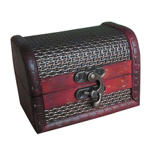 Portative Retro Antique Style wooden Jewelery Box with Gold Trait Ornament , Red(China)