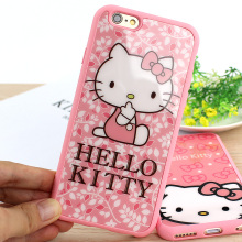 Cute Hello Kitty Cat Mirror Case For Apple iPhone 6 6S Plus 5 5S SE Capa Sweetheart Silicone Rubber Phone Cover Shell