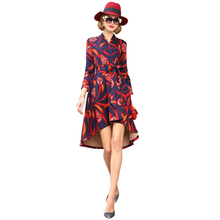floral print cotton women winter dress fashion new high low dress deep v neck tie belt knee length wrap dress drop shipping(China)