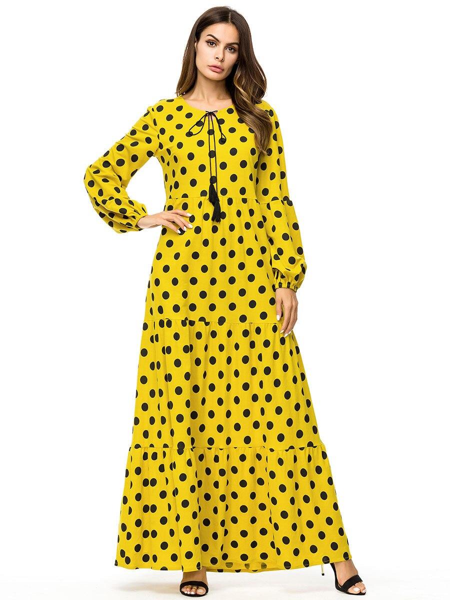 Dropship New Polka Dot Long Dress Fashion Block Patchwork Maxi Dresses Autumn 2018 Long Sleeve Casual Swing Dress Plus Size