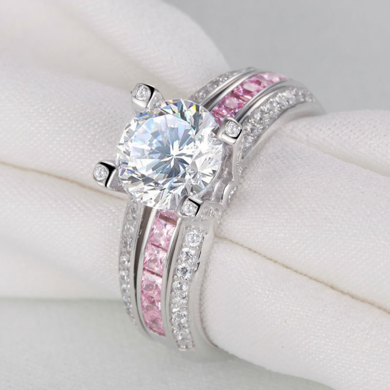 2 Ct Multi Color Round Cut CZ Solid 925 Sterling Silver Ring