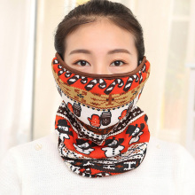 Windproof Winter Face Masks Thick Warm Hanging Ear Dust Respirator Women Cycling Mouth Mask With Scarf Beauty Pattern