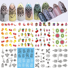12Sheets Fruit/Jewelry Pattern Nail Stickers Nail Art Water Transfer Tattoo Decals Nail Tips Decals Beauty Decor LASTZ489-500(China)
