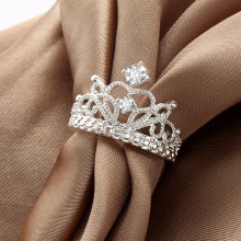 1 Piece Fashion Hot Sale Women Silver Plated Princess Wedding Band Zircon Crown Ring Lady Jewelry Gift(China)