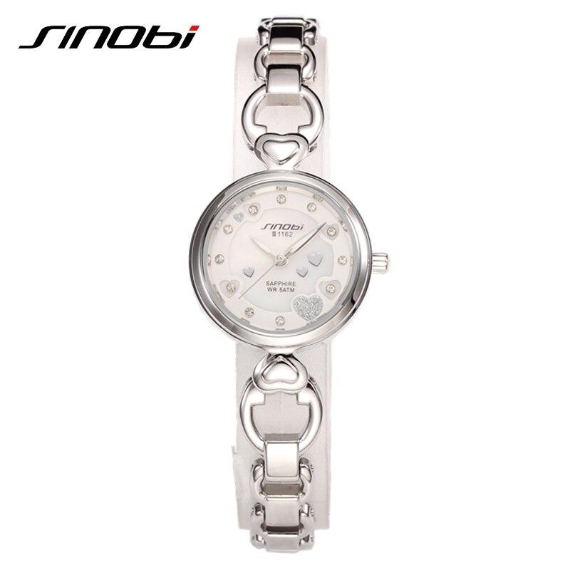 SINOBI Sapphire Mirror Watches For Women Luxury 50 Meters Waterproof Montre Femme Gold Quartz Wrist Watches For Women 1162<br><br>Aliexpress